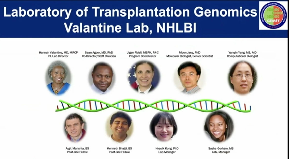screenshot of Valantine's lab featuring individual portraits of 9 labmates of diverse ethnicities