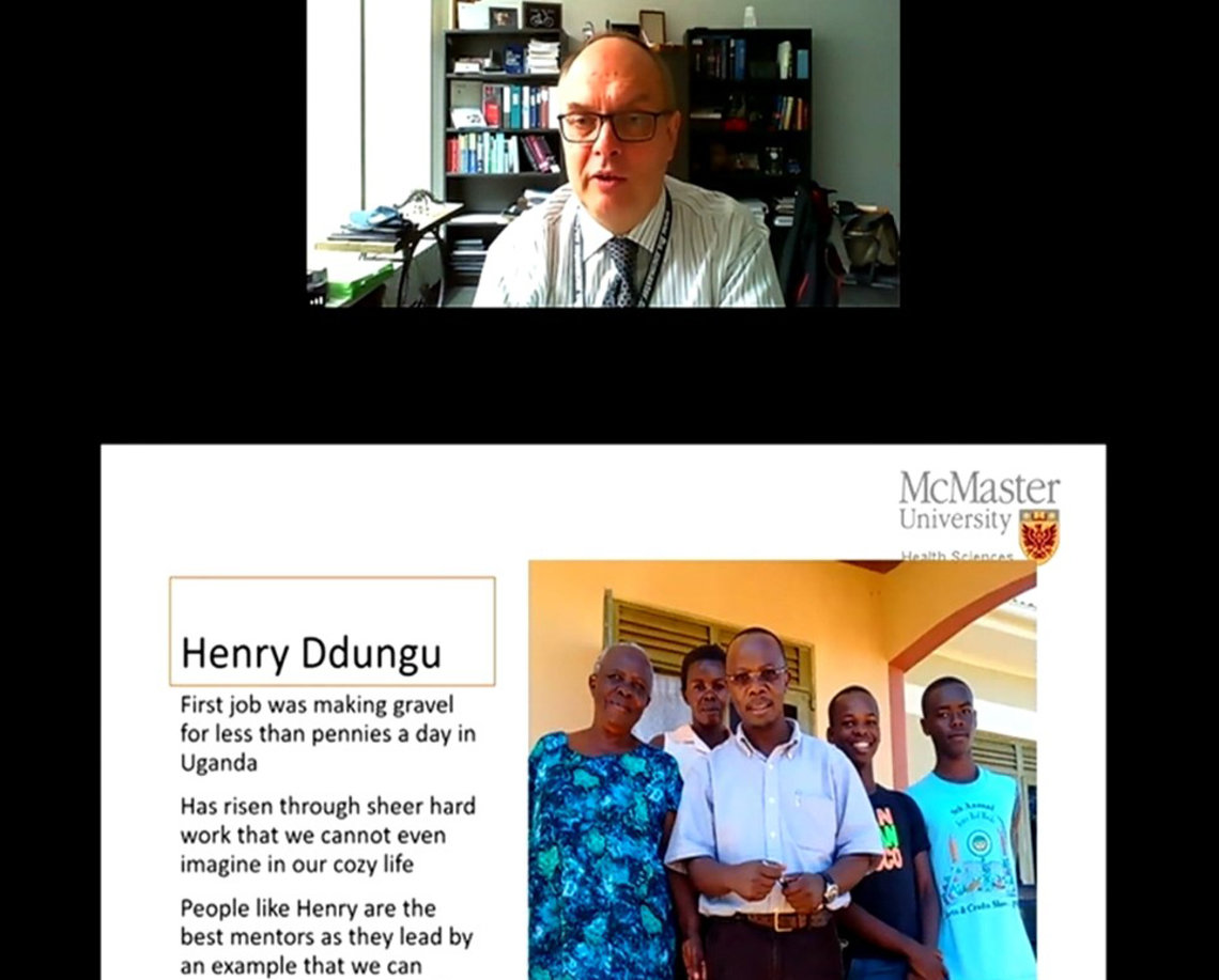 A slide shows Henry Ddungu at his home in Uganda, surrounded by his mother and 3 sons.