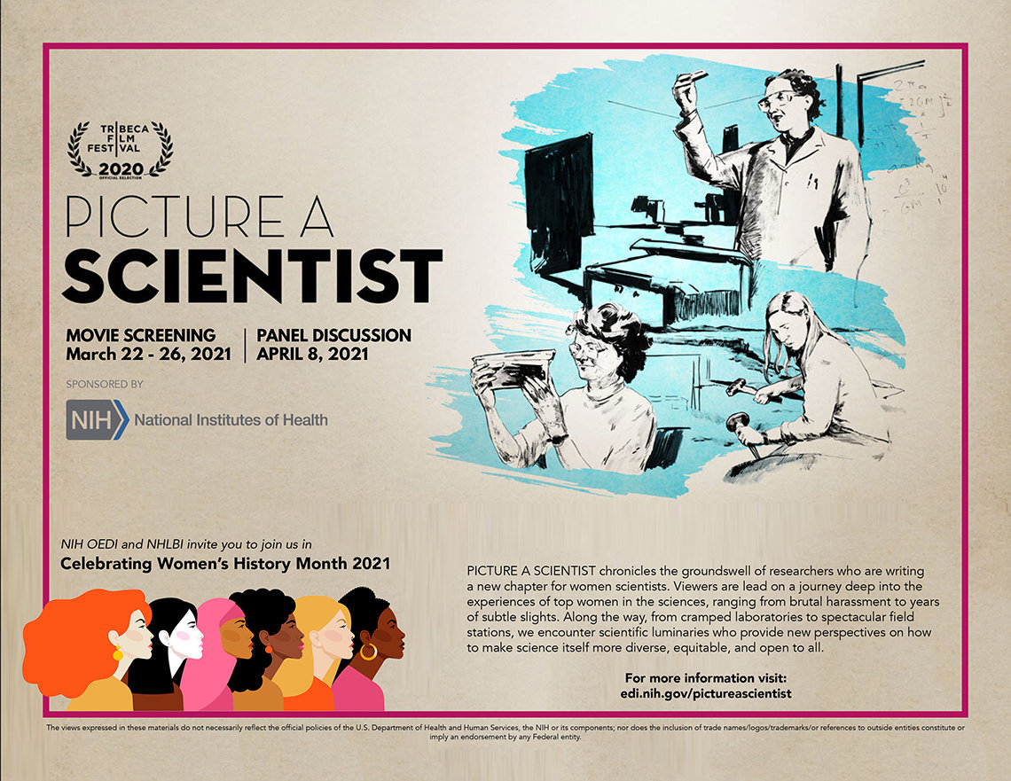 Flyer for the film screening shows original movie poster drawing featuring 3 female scientists, each in lab setting
