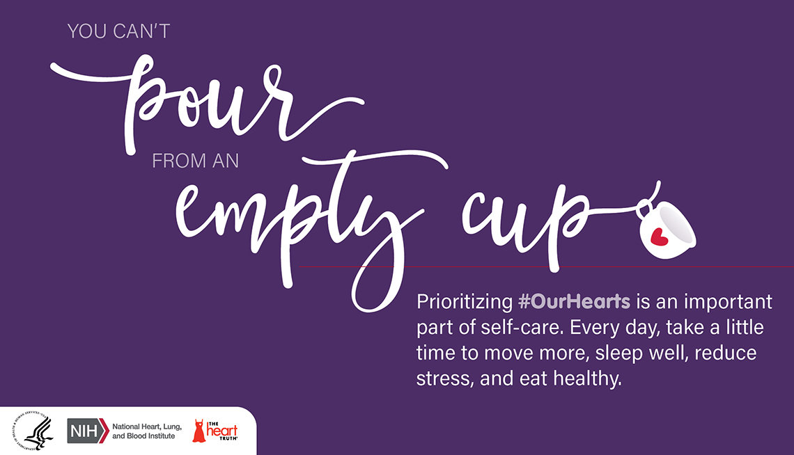 """A quote card featuring the words """"You can't pour from an empty cup"""""""