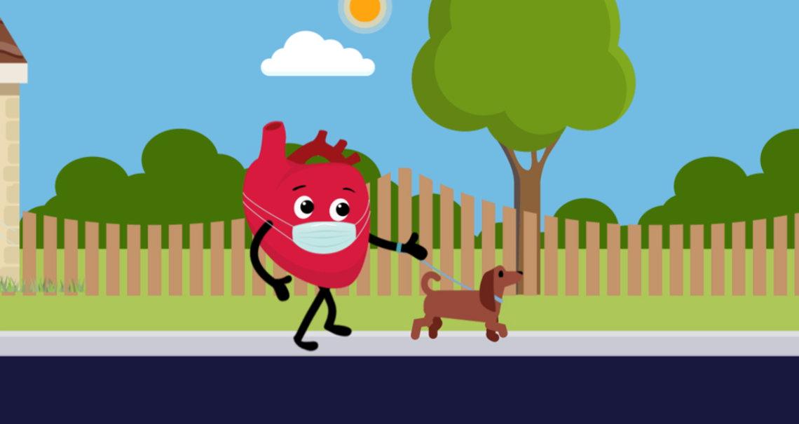 A cartoon heart wears a face mask and walks a dog