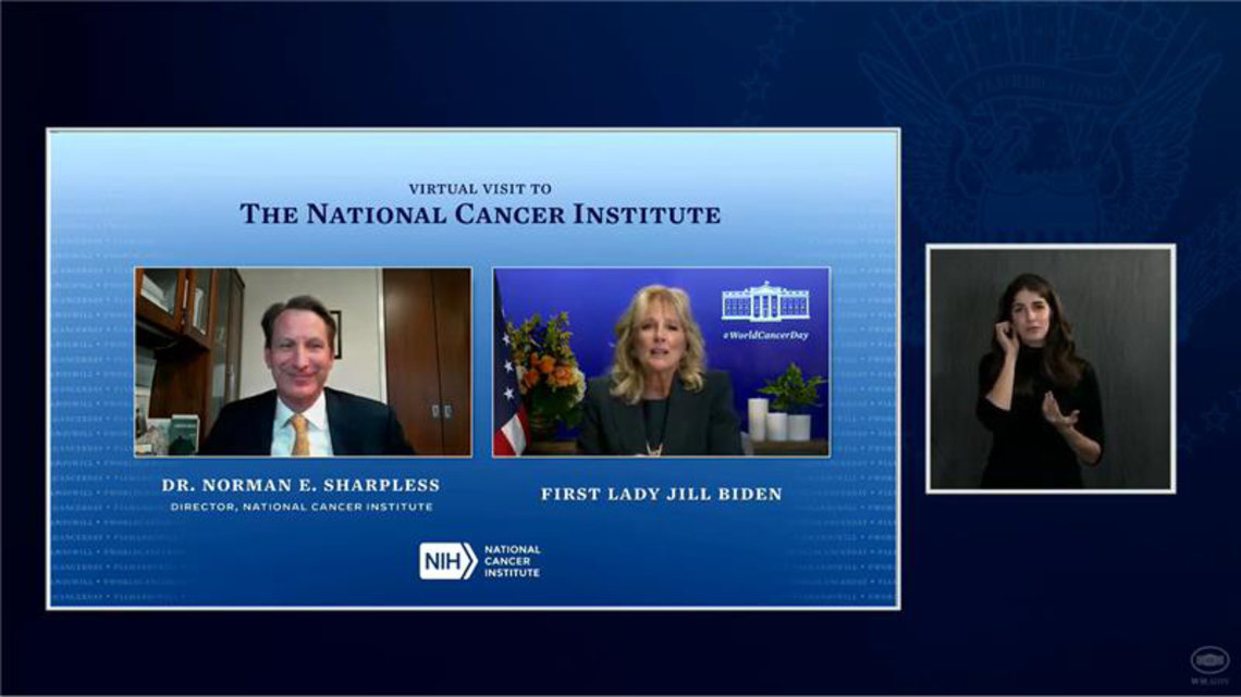 screenshot side-by-side Sharpless, Jill Biden