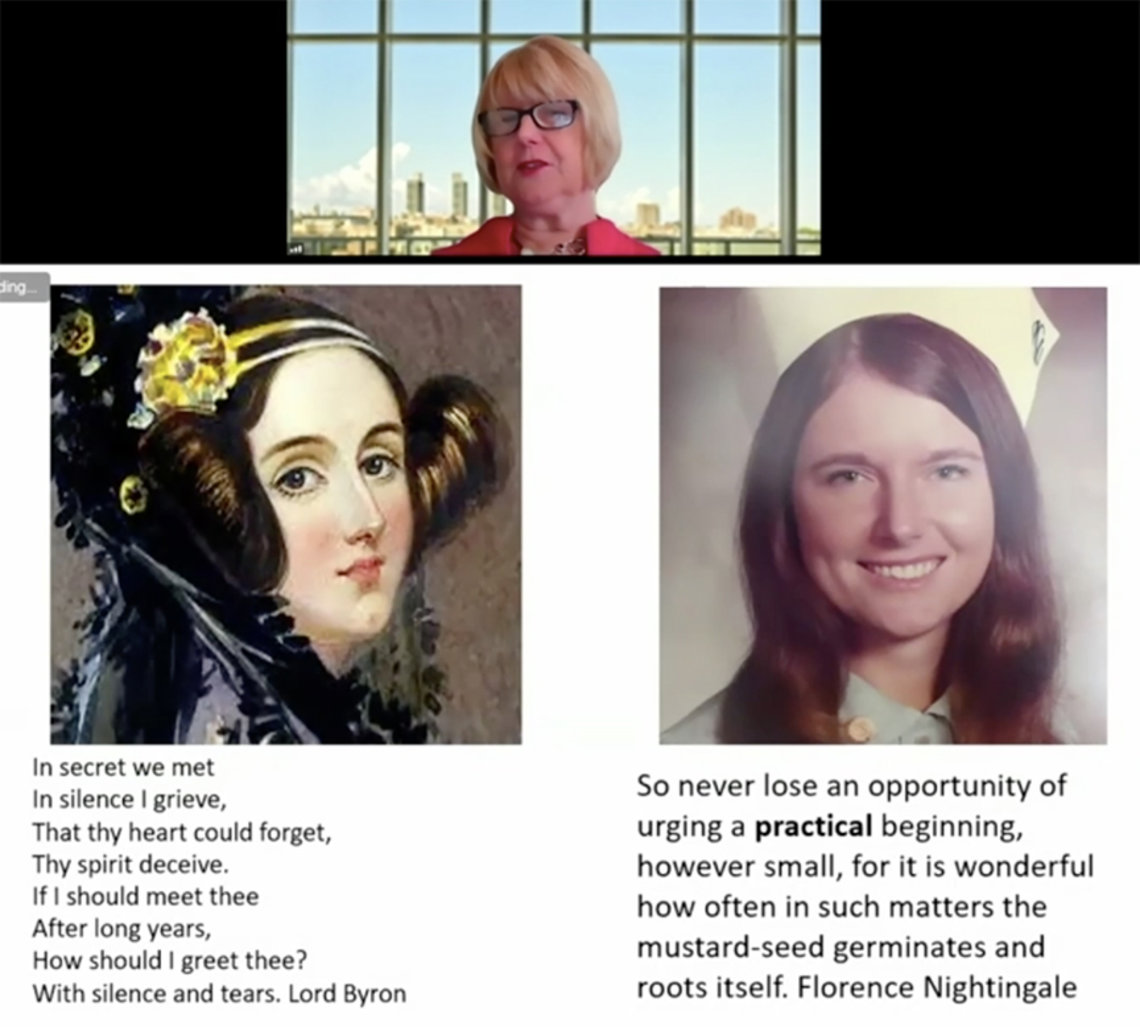 Bakken shares her screen so the virtual audience can see her presentation slides features two portraits--one of Ada Lovelace and a 20-year-old Bakken