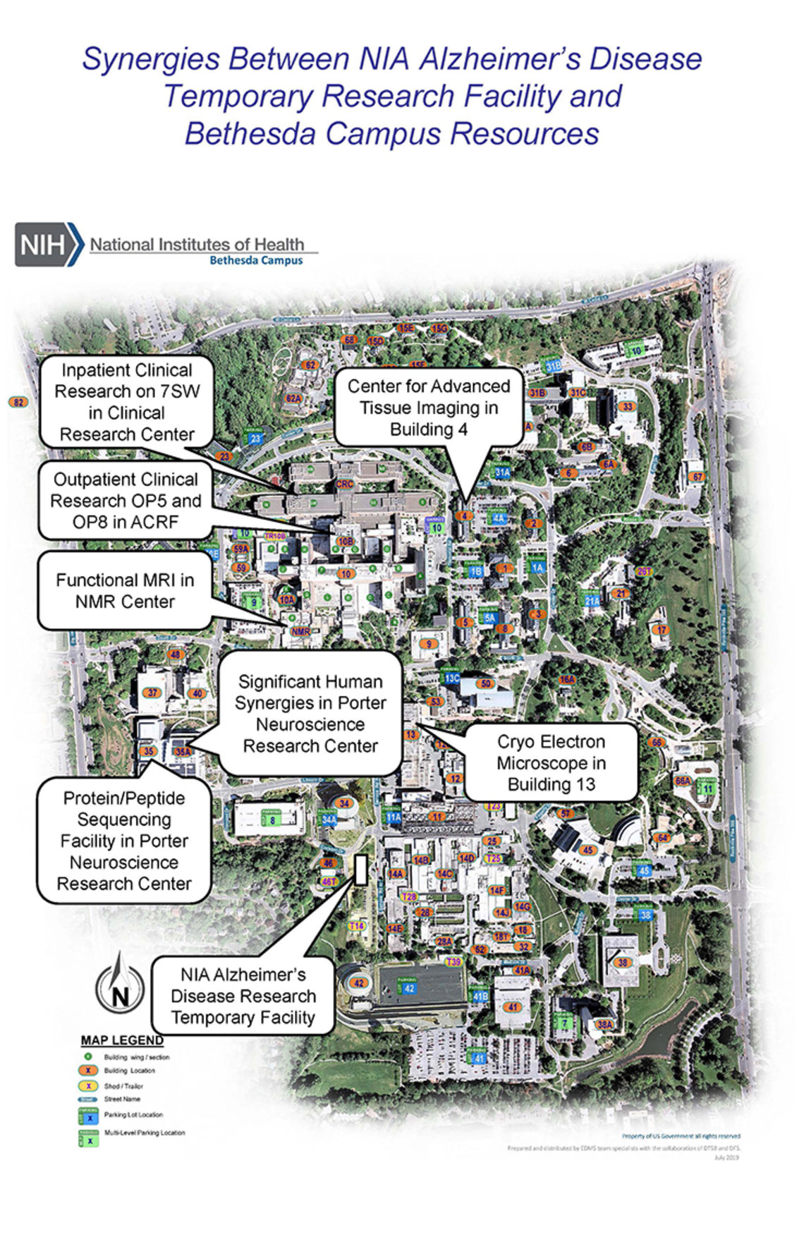 A map of NIH's campus illustrates future construction. Conversation bubbles point to the southwest corner of campus, where on campus the temporary Alzheimer's research facility will be located and the northwest corner of campus, where an administrative building will be located.