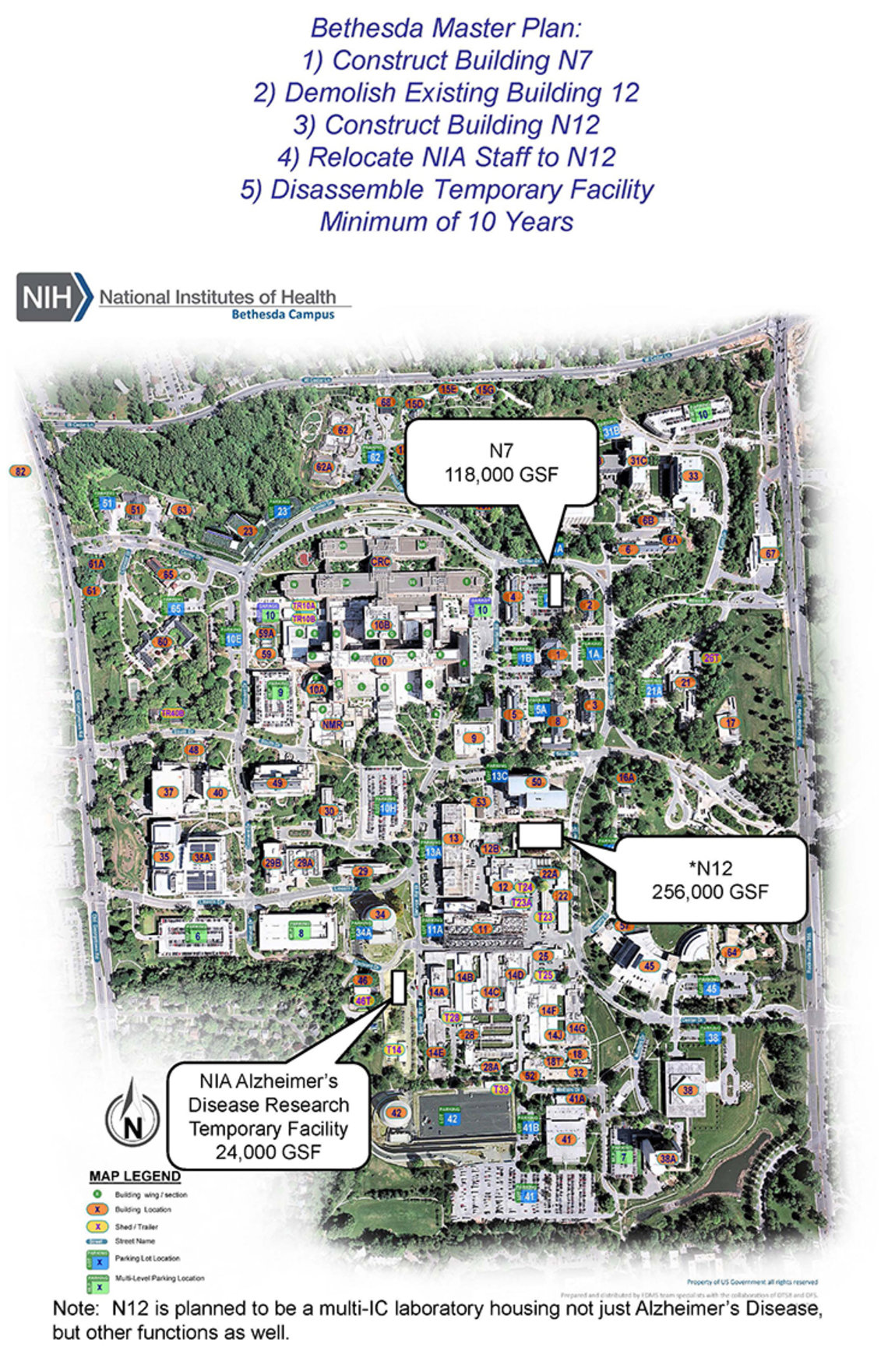 A map of NIH illustrates where the new Alzheimer's disease research facility, found in the southwest area of campus, will be in relation to other scientific buildings.