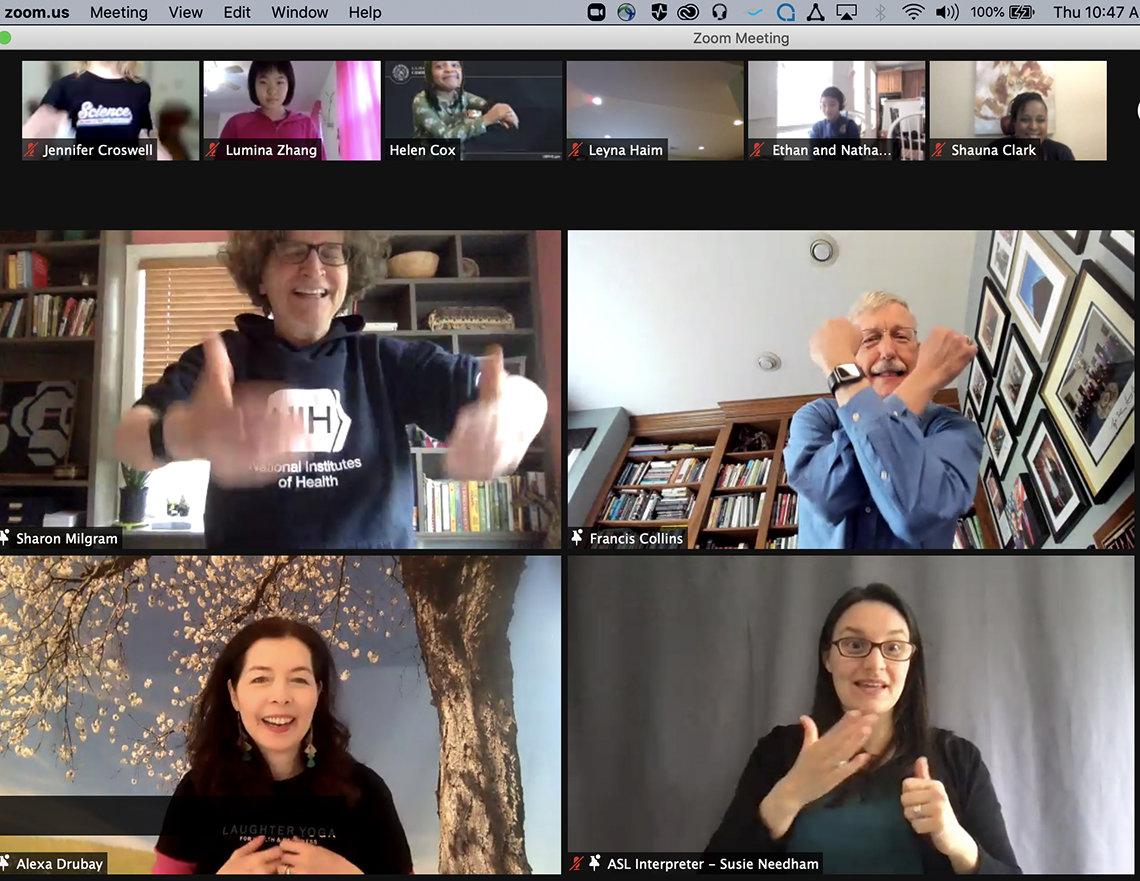 Collins, Milgram, Drubay and an ASL interpreter take part in virtual laughter yoga