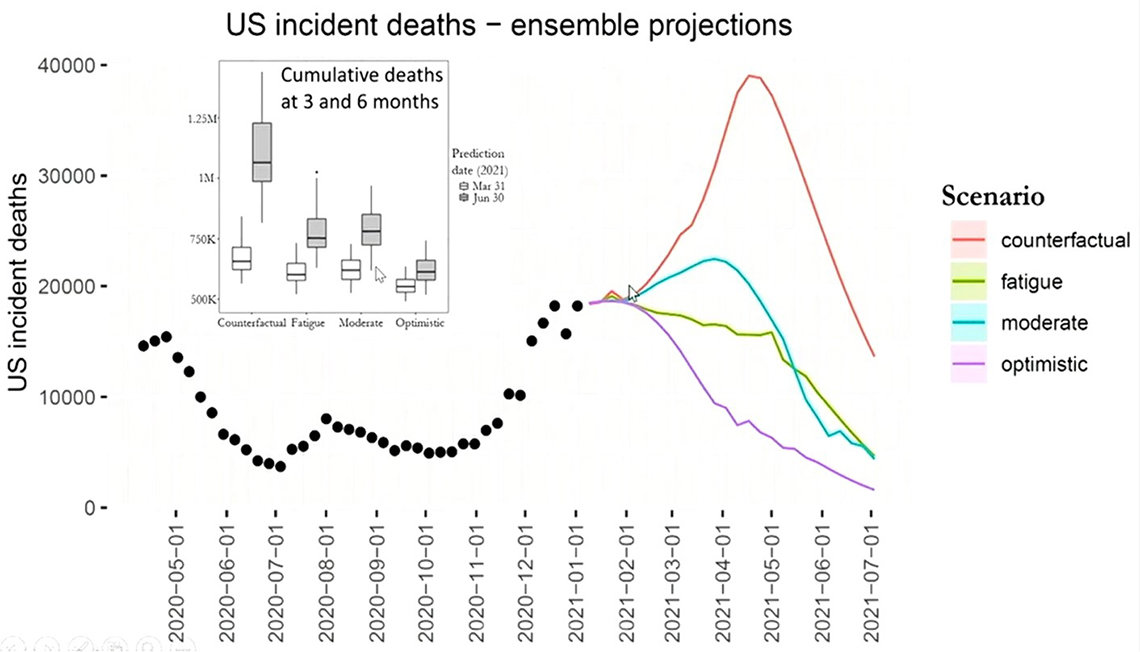 A graph shows projections of Covid deaths over 6 months for different scenarios. A purple line sharply descends in the optimistic scenario; the worst outlook, counterfactual, is depicted by an orange line steeply rising before it eventually drops.