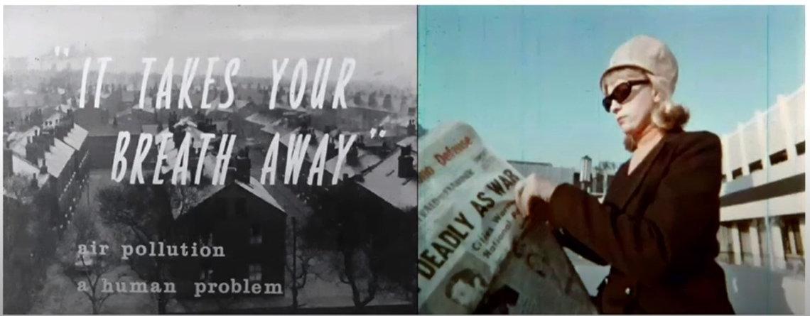 """The image on the left features the words, """"It takes your breath away: air pollution, a human problem"""" in front out a black and white photo of a neighborhood. The photo on the right features a woman reading a newspaper."""