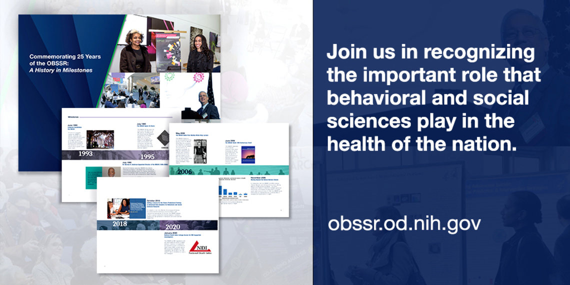 """The graphic features screenshots of the history timeline along with text that reads """"Join us in recognizing the important role that behavioral and social sciences play in the health of the nation obbssr.od.nih.gov"""""""