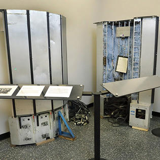 The old Cray supercomputer is on exhibit in the Bldg. 31 lobby.