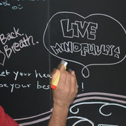 One of several chalkboard-signing messages offers good advice.