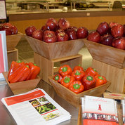 The cafeteria also featured a display of red, heart-healthy foods.