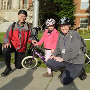 Doing BTWD family-style are (from l) Houston Baker, Zoe Baker and Eva Baker.Houston is a program officer with the Cancer Imaging Program, NCI, and is Zoe's grandfather.He has participated in multiple BTWDs, all of them with Zoe, age 6. Eva is a staff clinician in the CC's department of radiology and imaging sciences. This was her 6th BTWD.  PHOTO: BILL BRANSON