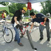 Minor bike repairs were handled by representatives from Silver Cycles and The Bicycle Place.  PHOTO: BILL BRANSON