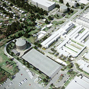 Rendering of birdseye look at two new cylindrical water tanks