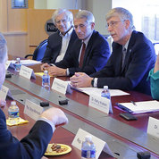 Briefing members of Congress are NIH leaders (from l) NIA director Dr. Richard Hodes, NIAID director Dr. Anthony Fauci, Collins, NIH deputy director for science, outreach and policy Dr. Kathy Hudson and NCI acting director Dr. Doug Lowy. PHOTO: ERNIE BRANSON
