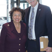 NIH director Dr. Francis Collins greets Lowey at the CRC entryway. PHOTO: ERNIE BRANSON
