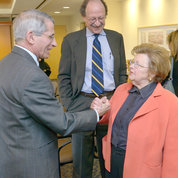 "In 2013, greeted by Fauci and former NIH director and then-NCI director Dr. Harold Varmus, Mikulski comes to ""raise hell"" about the potential effects of sequestration. PHOTO: ERNIE BRANSON"