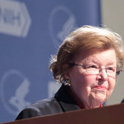"At a farewell town hall Apr. 11 in Masur Auditorium, Mikulski said she intends to leave NIH with the ""best damn appropriation you've ever seen."" PHOTO: ERNIE BRANSON"