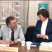 Mikulski chats with acting NIH director Dr. William Raub in 1987.