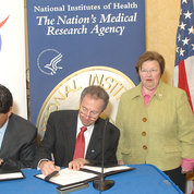 Mikulski has worked closely with every NIH director in the last 30 years. In this photo in 2007, she oversees an MOU signing with (from l) NIH director Dr. Elias Zerhouni (l), NASA administrator Dr. Michael Griffin and NIAMS director Dr. Stephen Katz.