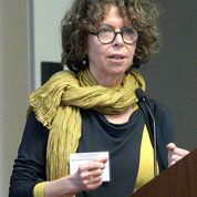 Dr. Isabelle Peretz of the University of Montreal addresses the assembly. PHOTO: ERNIE BRANSON