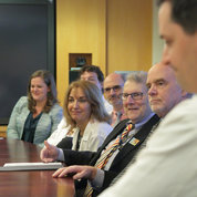 NIAMS director Dr. Stephen Katz (third from r) participates in a question-and-answer segment. PHOTO: BILL BRANSON