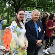 Huonggiang Le and Thomas Tran of the Association of Vietnamese Americans, which provides community services and promotes cultural understanding   PHOTO: KATIE CHAN