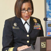 NHLBI clinical director; Deputy Surgeon General Sylvia Trent-Adams, speaks at event recognizing the work of NIH physician assistants. PHOTO: JEFF ELKINS