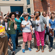 The NIH Office of Intramural Training and Education and other OD staff enjoy a spontaneous eclipse watching party outside of Bldg. 2. PHOTOS: MARLEEN VAN DEN NESTE, RICH MCMANUS, CARLA GARNETT, DANA TALESNIK, CHILDREN'S INN