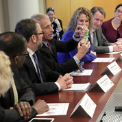 Before addressing a town hall, Azar attended a briefing with NIH leaders including NIAID director Dr. Anthony Fauci, who showed the secretary several 3-D print models. PHOTO: ERNIE BRANSON
