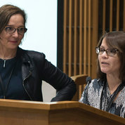 Dr. Danielle Carlin (r) and Dr. Michelle Olive describe the workshop's goal. PHOTO: MICHAEL GARSKE