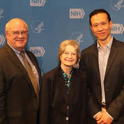 Dr. Sieving poses with Drs. Sayer, Wong