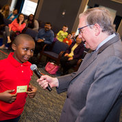NIH principal deputy director Dr. Lawrence Tabak hosts Picture Puzzle Trivia, a Bldg. 1 event that explored health science facts. PHOTO: LISA HELFERT