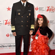 Surgeon General Jerome Adams and daughter Millie pause for a pic on the event's red carpet. PHOTO: GETTY IMAGES/AHA