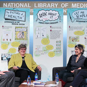 NLM director Dr. Patricia Flatley Brennan (second from l) talks about the graphic medicine movement with pioneers of the field, including (from l) physician-educator-researcher Dr. Michael Green, artist and author Forney and nurse and artist MK Czerwiec. PHOTO: CHIA-CHI CHARLIE CHANG
