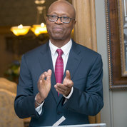CC Chief Operating Officer Pius Aiyelawo applauds the lodge's new look at a recent an event for supporters. PHOTO: FOUNDATION FOR THE NIH