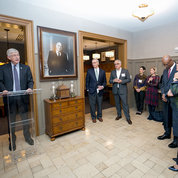 NIH director Dr. Francis Collins applauds the lodge's new look at a recent an event for supporters. PHOTO: FOUNDATION FOR THE NIH