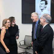 Enjoying a light moment at the tribute were (from l) Couric, Kennedy, NIH director Dr. Francis Collins and Dr. Arnold Rabson. PHOTO: CHIA-CHI CHARLIE CHANG
