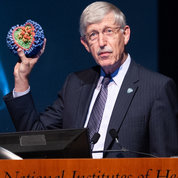 NIH director Dr. Francis Collins shows flu virus model at opening of Research Festival 2018. PHOTO: MARLEEN VAN DEN NESTE