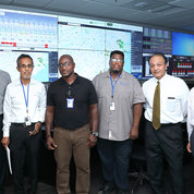 In the CUP control room are (from l) Brad Moss, ORS/ORF communications; Dr. Abdul Bhuiyan, chief of the Utility Systems Design and Technical Service Branch; engineer Allan Buller-Jarrett; C-shift supervisor Milton England; Dr. Farhad Memarzadeh, director of the Division of Technical Resources, ORF; and Dr. Don Guan, chief, Utilities Engineering Branch. PHOTO: CHIA-CHI CHARLIE CHANG