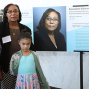 Dr. Emmeline Edwards of NCCIH and her granddaughters Nyomi, 12 and Chloe, 7, celebrate her career in science at NIH. PHOTO: CHIA-CHI CHARLIE CHANG