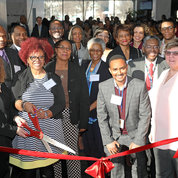Cutting the ribbon are (front, from l) Debra Chew (EDI), Victoria Gross (EDI), Dr. Emmeline Edwards (NCCIH), Dr. Marie Bernard (NIA), Dr. Fasil Tekola-Ayele (NICHD), Dr. Roland Owens (OD), Dr. Patricia Flatley Brennan (NLM) and Erika Barr (OD). In the back are (from l) Dr. Alfred Johnson (OD), Dr. Griffin Rodgers (NIDDK), Dr. Gary Gibbons (NHLBI), Dr. Anna Ramsey-Ewing (NCATS), Dr. Shawn Gaillard (NIAID), Dr. Worta McCaskill-Stevens (NCI), Dr. Courtney Fitzhugh (NHLBI), Dr. Carl V. Hill (NIA) and Dr. Zayd M. Khaliq (NINDS). PHOTO: CHIA-CHI CHARLIE CHANG
