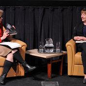 NICHD director Dr. Diana Bianchi (l) hosts a recent fireside chat with Eunice Kennedy Shriver biographer Eileen McNamara. PHOTO: MARLEEN VAN DEN NESTE