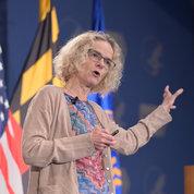 NIDA director Dr. Nora Volkow addresses the All of Us anniversary event. PHOTO: MARLEEN VAN DEN NESTE