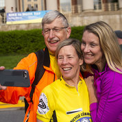 NIH director Dr. Francis Collins takes BTWD selfie with his wife Diane Baker and daughter Dr. Margaret Collins. PHOTO: LISA HELFERT