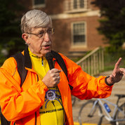 Collins talks about the scenic views he appreciates when he bikes to work. PHOTO: LISA HELFERT