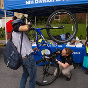 Cpl. Christine Fedorisko, a detective with NIH's criminal investigations division, records the serial number to register a bike. PHOTO: LISA HELFERT