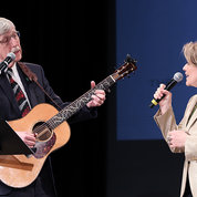 NIH director Dr. Francis Collins sings a duet with Renée Fleming at this year's J. Edward Rall Cultural Lecture. PHOTO: CHIA-CHI CHARLIE CHANG