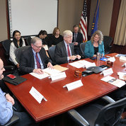 NIH director Dr. Francis Collins and OSTP director Dr. Kelvin Droegemeier on opposite sides of conference table, surrounded by staff including (from l) NIGMS director Dr. Jon Lorsch, NIH associate deputy director Dr. Tara Schwetz, principal deputy director Dr. Lawrence Tabak, acting chief of staff and NIH associate director for science policy Dr. Carrie Wolinetz and NIBIB director Dr. Bruce Tromberg PHOTO: CHIA-CHI CHARLIE CHANG